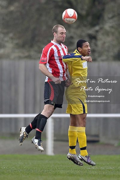 Elliot Styles (Hornchurch) out jumps Stefan Joseph (Croydon). AFC Hornchurch Vs Croydon Athletic. Ryman Premier League. The Stadium. Essex. 05/03/2011. MANDATORY CREDIT Sportinpictures/Garry Bowden