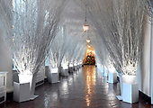 """The 2017 White House Christmas decorations, with the theme """"Time-Honored Traditions,"""" which were personally selected by first lady Melania Trump, are previewed for the press in Washington, DC on Monday, November 27, 2017.  This wintry scene lines the hall of the East Colonnade where guests pass as they go to the residence.<br /> Credit: Ron Sachs / CNP"""