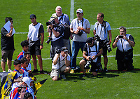 Photographers and fans wait for the teams to run out for the Super Rugby preseason match between the Hurricanes and Crusaders at Levin Domain in Levin, New Zealand on Saturday, 2 February 2019. Photo: Dave Lintott / lintottphoto.co.nz
