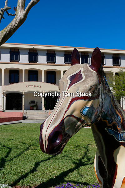 A beautiful painted horse sculpture, part of Horse Fever, a public art project of painted horses by the Marion Cultural Alliance in Ocala, Florida. This horse is located in front of the Ocala City Hall.