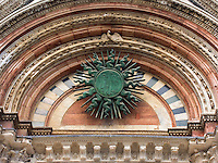 Detail of doorway arch above entrance of the Duomo, Siena, Ital