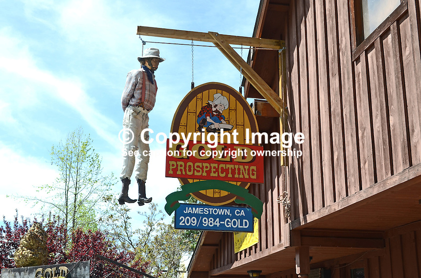 The proprietor of a gold mining store in gold rush town, Jamestown, California, USA, has a rather macabre way of attracting attention to his business - a claim-jumper hanging from a gallows at the front of his premises. April 2013. 201304201608<br /> <br /> Copyright Image from Victor Patterson, 54 Dorchester Park, Belfast, UK, BT9 6RJ<br /> <br /> Tel: +44 28 9066 1296<br /> Mob: +44 7802 353836<br /> Voicemail +44 20 8816 7153<br /> Skype: victorpattersonbelfast<br /> Email: victorpatterson@me.com<br /> Email: victorpatterson@ireland.com (back-up)<br /> <br /> IMPORTANT: If you wish to use this image or any other of my images please go to www.victorpatterson.com and click on the Terms &amp; Conditions. Then contact me by email or phone with the reference number(s) of the image(s) concerned.