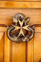 Mellieha, Malta.  Maltese Door Knocker, Maltese Cross.