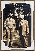 BNPS.co.uk (01202 558833)<br /> Pic: ForumAuctions/BNPS<br /> <br /> John Drinkwater with Hardy in the garden of Max Gate, his home near Dorchester.<br /> <br /> Extraordinary photo album reveals Thomas Hardy as personal tour guide around his most famous novel.<br /> <br /> A personalised photograph album documenting a guided tour of 'Casterbridge' that novelist Thomas Hardy gave a literary friend has emerged almost 100 years later.<br /> <br /> The famous author showed playwright John Drinkwater the real-life locations that inspired him to write the classic 1886 novel The Mayor of Casterbridge.<br /> <br /> Mr Drinkwater took photographs of various venues that feature prominently in the novel.<br /> <br /> He also captured some of the last images of Hardy who died two years later.