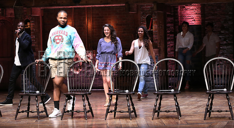 """Justin Dine Bryant, Sean Green Jr., Lexi Garcia, Sasha Hollinger , Lauren Boyd, Thayne Jasperson during a Q & A before The Rockefeller Foundation and The Gilder Lehrman Institute of American History sponsored High School student #eduHam matinee performance of """"Hamilton"""" at the Richard Rodgers Theatre on May 9, 2018 in New York City."""
