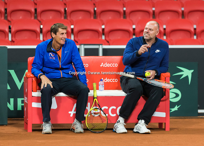 The Hague, The Netherlands, September 11, 2017,  Sportcampus , Davis Cup Netherlands - Chech Republic, training, captain Paul Haarhuis (NED) (L) and coach Raymond Knaap (NED)<br /> Photo: Tennisimages/Henk Koster