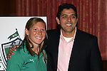 25 November 2008: Lori Chalupny, U.S. Olympic gold medalist and member of the St. Louis Athletica (left) and Jorge Barcellos, St. Louis Athletica head coach and former Brazilian Women's National Team head coach (right).  Women's Profession Soccer unveiled the team name and logo for the St. Louis WPS franchise at the Missouri Athletic Club in St. Louis, Missouri.