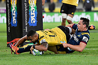 Hurricanes&rsquo; Ngani Laumape and Highlanders&rsquo; Ben Smith in action during the Super Rugby - Hurricanes v Highlanders at Westpac Stadium, Wellington, New Zealand on Friday 8 March 2019. <br /> Photo by Masanori Udagawa. <br /> www.photowellington.photoshelter.com