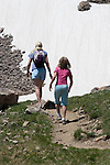 Mother and daughter hiking in James Peak Wilderness Area, near Georgetown, Colorado.