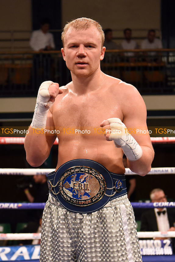 Dmytro Kucher (silver shorts) defeats Enzo Maccarinelli to win the EBU (European) Cruiserweight title during a Boxing Show at York Hall on 10th June 2016