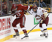 Michael Del Mauro (Harvard - 13), Patrick Alber (BC - 27) - The Boston College Eagles defeated the Harvard University Crimson 6-0 on Monday, February 1, 2010, in the first round of the 2010 Beanpot at the TD Garden in Boston, Massachusetts.