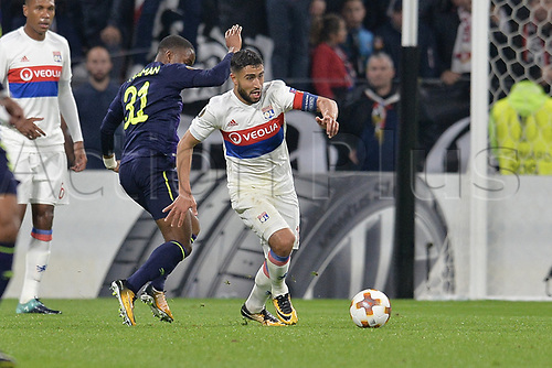 2nd November 2017, Nice, France; EUFA Europa League, Olympique Lyonnais versus Everton;  Nabil Fekir (lyon) takes on Ademola Lookman (everton)