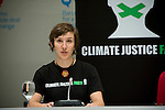 Anna Keenan from Australia (left) speaks to the press as she and Sara Svensson  from Sweden (out of frame) launch a hunger strike for climate justice on the closing day of the Barcelona Climate Talks. The two join others around the world in in Climate Justice Fast!, committing to go without food until and beyond the Copenhagen conference unless their demands - for Climate Justice - are achieved. www.climatejusticefast.com (©Robert vanWaarden ALL RIGHTS RESERVED)