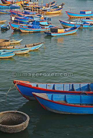Asia, Vietnam, Nha Trang. Cai River Estuary. Nha Trang's fishing fleet moors on the Cai River just north of the city centre.