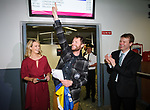 John Burke, accompanied by his wife Aoibhin Garrihy, reacts to the welcoming crowd gathered, on his arrival back to Shannon Airport, following his successful attempt, being the first Clare person ever to climb Mount Everest. Photograph by John Kelly.
