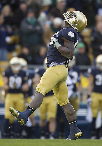 November 03, 2012:  Notre Dame outside linebacker Prince Shembo (55) celebrates sack during NCAA Football game action between the Notre Dame Fighting Irish and the Pittsburgh Panthers at Notre Dame Stadium in South Bend, Indiana.  Notre Dame defeated Pittsburgh 29-26 in three overtimes.