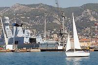 - French  Navy, Toulon naval base, frigate Forbin, Horizon class.. ..- Marina Militare Francese, base navale di Tolone, fregata Forbin, classe Horizon