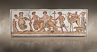 Picture of a Roman mosaics design depicting Dionysus riding a lion; from the ancient Roman city of Thysdrus. 2nd century AD House of the Dionysus Proccession. El Djem Archaeological Museum; El Djem; Tunisia. Against an art background