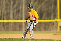 Michael Gonzalez (35) of the SUNY Sullivan Generals takes his lead off of second base against the County College of Morris Titans on the campus of County College of Morris on April 9, 2013 in Randolph, New Jersey.  The Titans defeated the Generals 12-4.  (Brian Westerholt/Four Seam Images)