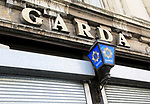 Garda police sign and blue lamp, city of Dublin, Ireland, Irish Republic
