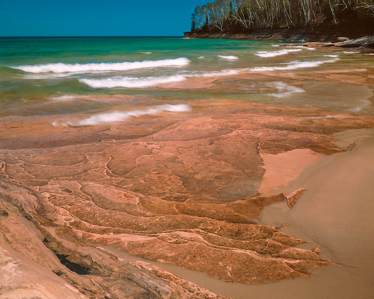 Afternoont light on the eroded shoreline of Lake Superior at Miners Beach; Pictured Rocks National Lakeshore, MI