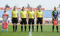 20180305 - LARNACA , CYPRUS : referees pictured with Czech Lucie Ratajova , Czech Veronika Kovarova , Czech Jana Zaplatilova and Czech Nikol Safrankova during a women's soccer game between Switzerland and Wales , on monday 5 March 2018 at GSZ Stadium in Larnaca , Cyprus . This is the third game in group A for Switzerland and Wales during the Cyprus Womens Cup , a prestigious women soccer tournament as a preparation on the World Cup 2019 qualification duels. PHOTO SPORTPIX.BE | DAVID CATRY