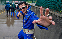 LOUISVILLE, KY - MAY 05: An Elvis impersonator on Kentucky Derby Day at Churchill Downs on May 5, 2018 in Louisville, Kentucky. (Photo by Scott Serio/Eclipse Sportswire/Getty Images)