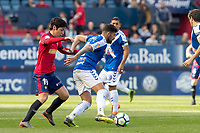 SADAR, PAMPLONA, SPAIN: The Football League, CA Osasuna vs Tenerife; Borja Lasso, of CA Osasuna, tries to take the ball away from the player of Tenerife Alberto on day 33 of Liga 123. April 1, 2018