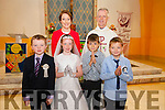 Pupils from Coars NS who made their First Holy Communion in the Church of Our Lady of the Immaculate Conception on Sunday pictured here front l-r; John Jnr. O'Malley,Tammy Hallissey, Bradlaigh Smith, Sean Gannon, back l-r; Siobhan Fitzpatrick & Canon Larry Kelly.