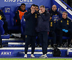 Dean Smith manager of Aston Villa (r)  talks with assistant John Terry (l) during the Premier League match at the King Power Stadium, Leicester. Picture date: 9th March 2020. Picture credit should read: Darren Staples/Sportimage