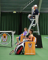 Rotterdam, The Netherlands, 15.03.2014. NOJK 14 and 18 years ,National Indoor Juniors Championships of 2014, Final girls 14 years:Gabriella Mujan (NED) and Stephanie Visscher (L)<br /> Photo:Tennisimages/Henk Koster