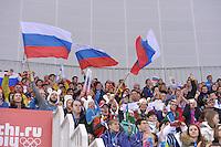 OLYMPICS: SOCHI: Adler Arena, 09-02-2014, 3000 m Ladies, Russian fans, ©foto Martin de Jong