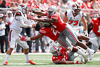 Ohio State Buckeyes defensive end Chase Young (2) and Ohio State Buckeyes defensive tackle Dre'Mont Jones (86) pressure Oregon State Beavers quarterback Conor Blount (2) during the second quarter of a NCAA college football game between the Ohio State Buckeyes and the Oregon State Beavers on Saturday, September 1, 2018 at Ohio Stadium in Columbus, Ohio. [Joshua A. Bickel/Dispatch]
