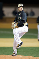 Wake Forest Demon Deacons relief pitcher John McCarren (45) in action against the Delaware Blue Hens at Wake Forest Baseball Park on February 13, 2015 in Winston-Salem, North Carolina.  The Demon Deacons defeated the Blue Hens 3-2.  (Brian Westerholt/Four Seam Images)