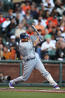 SAN FRANCISCO, CA - JUNE 26:  Juan Rivera #21 of the Los Angeles Dodgers bats against the San Francisco Giants during the game at AT&T Park on Tuesday, June 26, 2012 in San Francisco, California. Photo by Brad Mangin