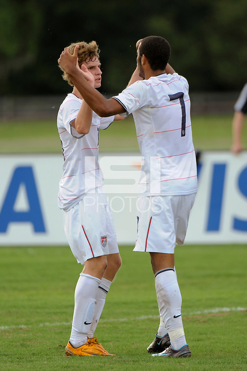 Stefan Jerome (7) of the USA celebrates scoring with teammate Andrew Craven (12). The US U-17 Men's National Team defeated the Development Academy Select Team 3-1 during day one of the US Soccer Development Academy  Spring Showcase in Sarasota, FL, on May 22, 2009.