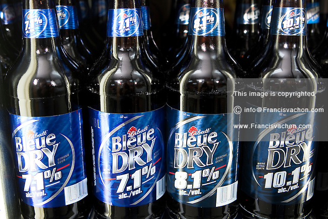 Labatt Bleue and bleu Dry beer 1.18l bottles are seen on display in a convenient store in Quebec City February 26, 2009