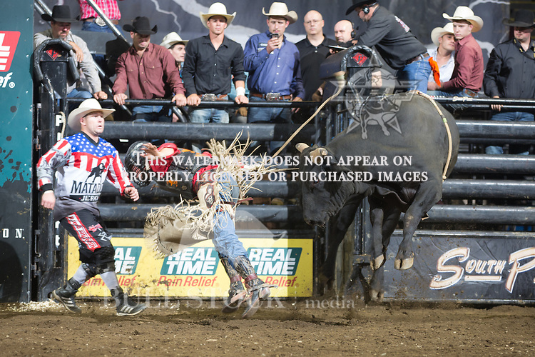 Austin Gosnell attempts to ride Hidden Figures ( Torres Brothers ) during the second round of the PBR Real Time Pain Relief Velocity Tour event in  Portland, ME - Photo by Andre Silva