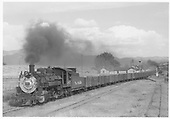 D&amp;RGW #485 with Monarch empties passing closed Poncha Junction depot westbound, entering siding.<br /> D&amp;RGW  Poncha Junction, CO  Taken by Kindig, Richard H. - 9/19/1952