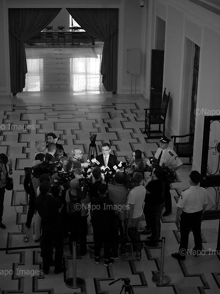 Warsaw 20/07/2017 Poland<br /> Minister of Justice Zbigniew Ziobro answer questions to journalists after the bill to chenge the way of electing the Supreme Court judges, which curbs rule of law in Poland has been passed.<br /> Photo: Adam Lach / Napo Images<br /> <br /> Warszawa 20/07/2017<br /> minister sprawiedliwosci odpowiada na pytania dziennikarzom po tym jak ustawa zmieniajaca sposob wybierania sedziow Sadow Najwyzszego zostala uchwalona.<br /> Fot: Adam Lach / Napo Images