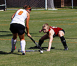 Lotte Kraaijenbrink #8 for Hendrix dribbles towards Molly Dean of Transy.  Hendrix beats Transy at home 5-0.