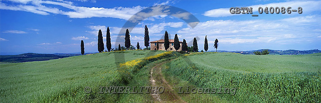 Tom Mackie, LANDSCAPES, panoramic, photos, Villa & Cypress Trees, near Pienza, Tuscany, Italy, GBTM040086-8,#L#