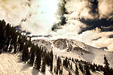 USA, Utah, View of the Baldy Chutes and clouds, Alta Ski Resort