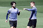 Real Madrid's Isco Alarcon (l) and Toni Kroos during training session. May 1,2017.(ALTERPHOTOS/Acero)
