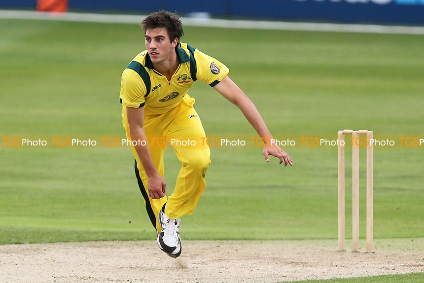 Patrick Cummins in bowling action for Australia - Essex Eagles vs Australia - Tourist Match Cricket at the Ford County Ground, Chelmsford, Essex - 26/06/12 - MANDATORY CREDIT: Gavin Ellis/TGSPHOTO - Self billing applies where appropriate - 0845 094 6026 - contact@tgsphoto.co.uk - NO UNPAID USE.