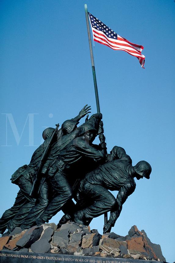 The Iwo Jima Memorial to US Marines at Arlington, Virginia. National Parks, Military, Tourism, Monuments, Washington DC Area. Arlington VA USA Washington, DC Metro Area.