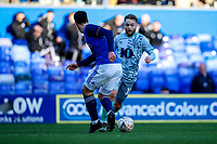 4th January 2020; St Andrews, Birmingham, Midlands, England; English FA Cup Football, Birmingham City versus Blackburn Rovers; Harry Chapman of Blackburn Rovers runs at the defender - Strictly Editorial Use Only. No use with unauthorized audio, video, data, fixture lists, club/league logos or 'live' services. Online in-match use limited to 120 images, no video emulation. No use in betting, games or single club/league/player publications