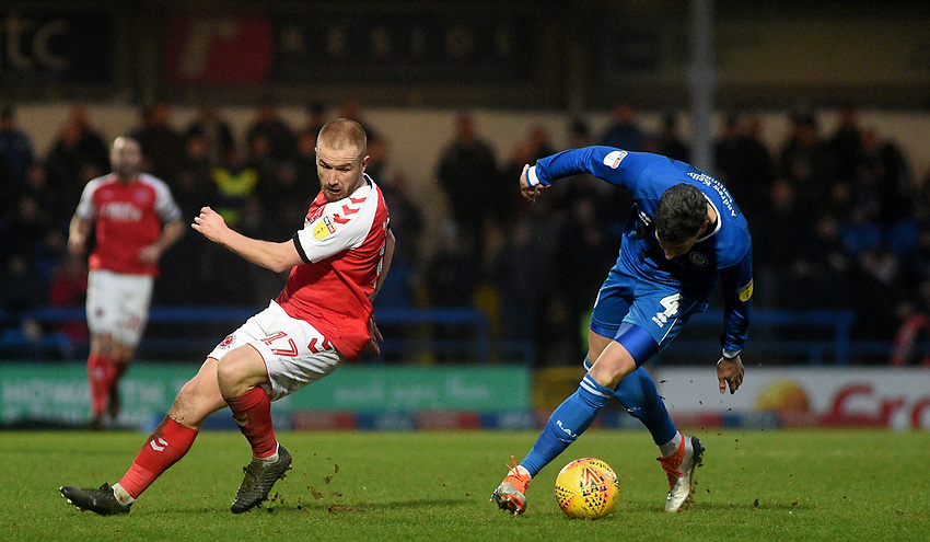 Fleetwood Town's Paddy Madden battles with  Rochdale's Jim McNulty<br /> <br /> Photographer Hannah Fountain/CameraSport<br /> <br /> The EFL Sky Bet League One - Rochdale v Fleetwood Town - Saturday 19 January 2019 - Spotland Stadium - Rochdale<br /> <br /> World Copyright © 2019 CameraSport. All rights reserved. 43 Linden Ave. Countesthorpe. Leicester. England. LE8 5PG - Tel: +44 (0) 116 277 4147 - admin@camerasport.com - www.camerasport.com