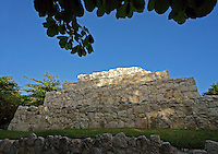The Pyramid, San Miguelito archaeological site adjacent to the new Museo Maya de Cancun museum, Cancun, Mexico      .
