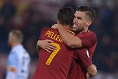1st December 2017, Stadio Olimpico, Rome, Italy; Serie A football. AS Roma versus Spal; Lorenzo Pellegrini Roma celebrates the goal with Strootman.